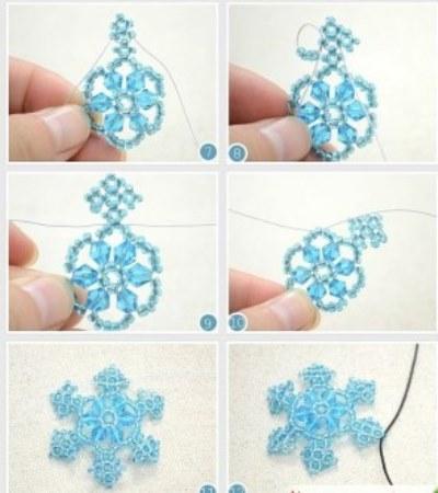 снежинки из бисера со схемами простые и красивые
