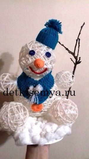 как сделать снеговика из ниток и клея пошаговая инструкция