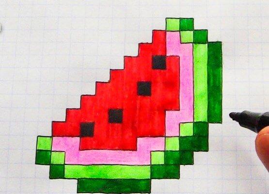 рисунки по клеточкам в тетради сложные долька арбуза