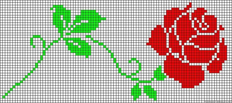 роза по квадратикам шаблон