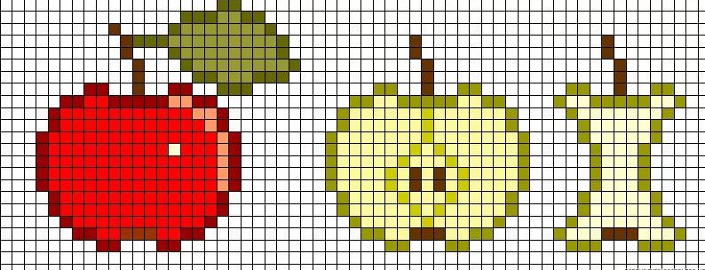 рисунки по клеточкам в тетради сложные яблоки
