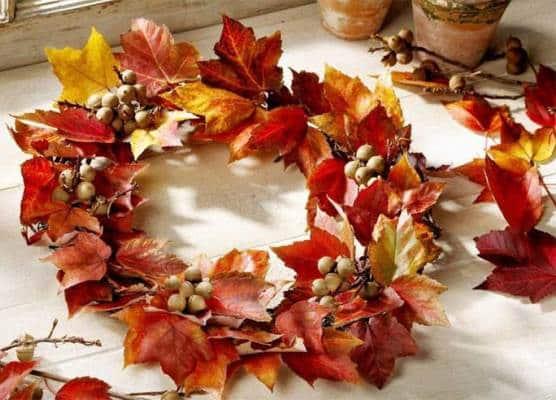 венок из листьев своими руками для школы
