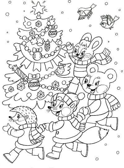 раскраска подарки на новый год