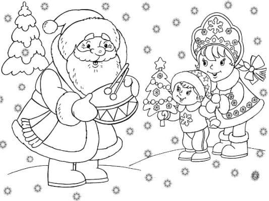раскраски на новый год для детей 3 лет