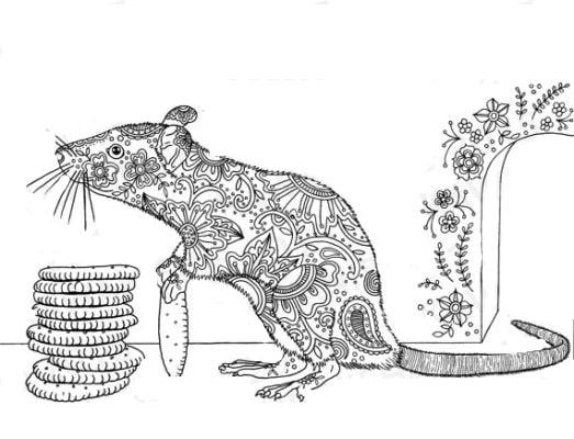 вытынанка на окно шаблон крысы большой