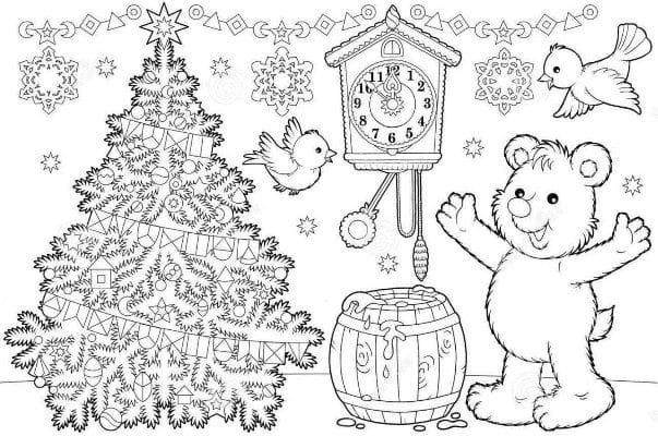 раскраски на новый год для детей